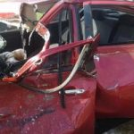 بالصور..زحام مرورى بسبب حادث تصادم 4 سيارات أعلى كوبرى أكتوبر