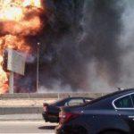 انفجار خط غاز واشتعال النيران بالتجمع الخامس